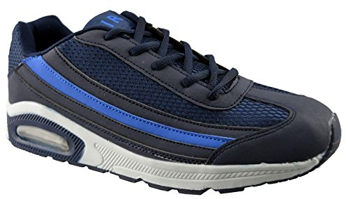 Air Tech Mens New Lace Up Casual Gym Running Jogger Sports Trainers Shoes Size Blue