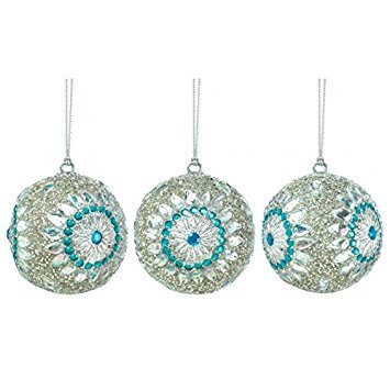 Koehler SS-KHD-10017588 10017588 9.5 Inch Silver Color Beaded Ball Ornament Trio