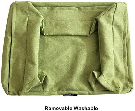犬猫ソファベッド、 犬のベッドクッション屋内ソファスタイル/通気性コットンカバー/防水ノンスリップボトム/グリーン、イエロー、グレー (Color : Green, Size : L)