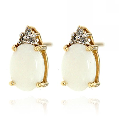 14k Yellow Gold White Opal Gemstone and Diamond Stud Earrings, Birthstone of October.