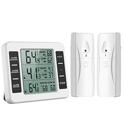 AMIR Refrigerator Thermometer, Wireless Indoor Outdoor Digital Freezer Thermometer, Sensor Temperature Monitor with Audible Alarm Temperature Gauge for Freezer Kitchen ()