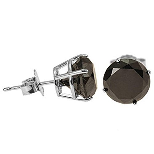 6.30 Ct Certified Black Diamond Solitaire Studs ,Push Back For Birthday Gift by Gems River