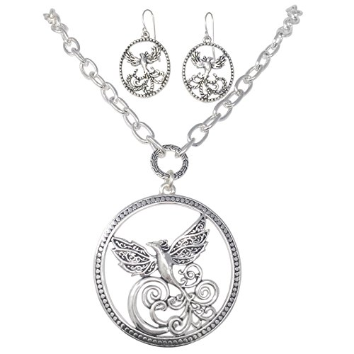 style simple dove in necklace boutique costume ostumy design earring set at halloween bird turtle tone flight costumes pendant silver
