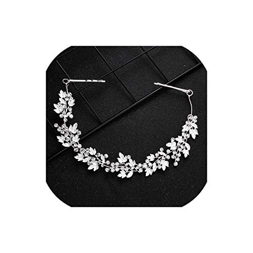 Perfect-Mood Newest White Crystal Alloy Leaves Hair Vine