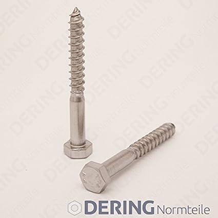DERING Sechskant Holzschrauben M6x140 DIN 571 Edelstahl A2 20 St/ück Holzschraube Holz Schrauben | Schl/üsselschrauben rostfrei