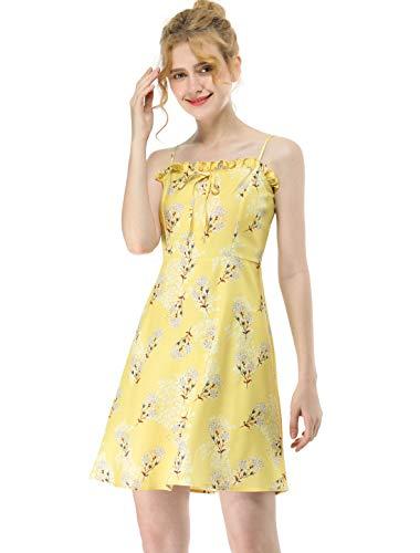 Allegra K Women's Spaghetti Straps Ruffled Square Neck Bowtie Smocked Sleeveless Floral Mini Dress L Yellow