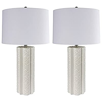 Sheffield Home 26.5 inch White Embossed Ceramic Table Lamp Light - Perfect Living Room Decor, Bedside Lamps for Bedroom, Set of 2