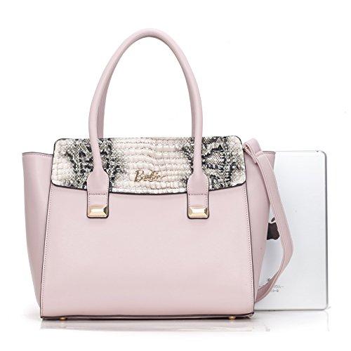Barbie Bolso bandolera y baguette elegante de estilo chicas bolso casual de mano para mujer BBFB550 37.5x25x14.5CM Rosa