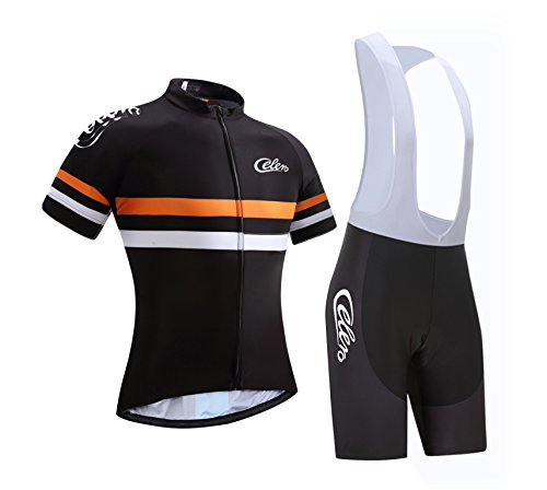 Celero Men's Cycling Suits Short Sleeve Bike Jersey and Bib Shorts(Orane,L)