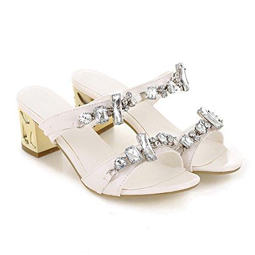 Amoonyfashion Donna Open Toe Gattino Tacco Grosso Tacchi Pu Pantofole In Pelle Verniciata Solido Con Vetro Diamante Bianco