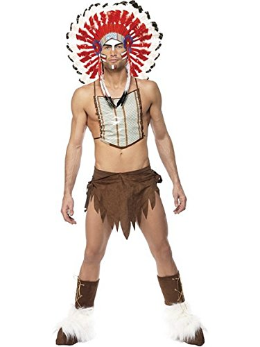 [Smiffy's Men's Village People Indian Costume, Headdress, Loincloth, Chest Plate] (8 People Costumes)