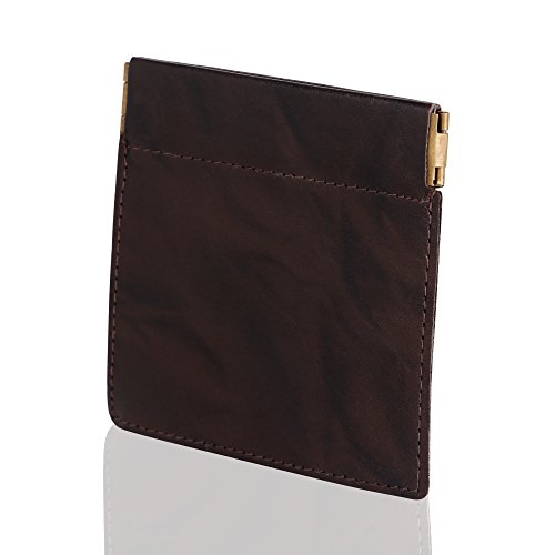Premium Grain Leather Change Holder Squeeze Coin purse (Brown) SD 024