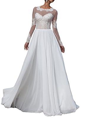 OYISHA Long Sleeve Chiffon Beach Wedding Dresses Sexy Lace Bridal Gown WD161