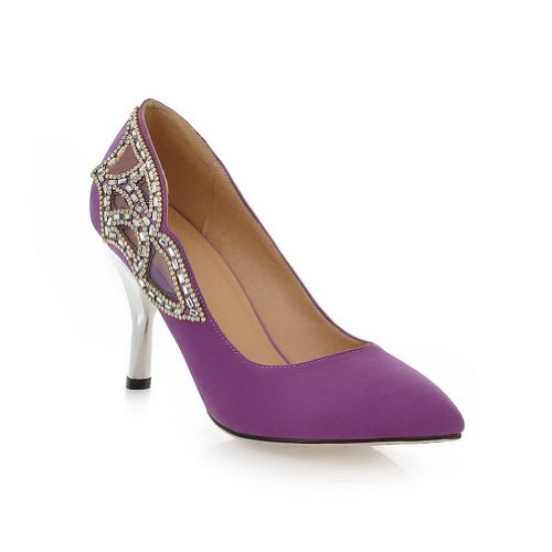 VogueZone009 Womens Closed Pointed Toe High Heel Suede Frosted PU Solid Pumps with Glass Diamond, Purple, 3.5 UK