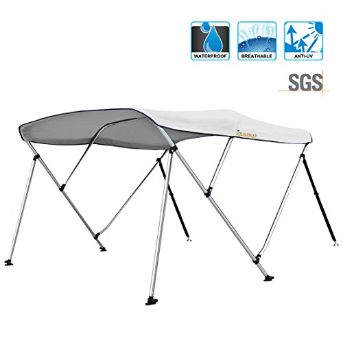 """Kingbird 3 Bow Bimini Top Boat Bimini Canopy Cover 1 Inch Stainless Aluminum Heavy Duty 50"""" Height, with Rear Support Poles and Stitched on Canvas Storage Boot (Grey, 61''-66'')"""