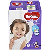 HUGGIES LITTLE MOVERS Diapers, Size 4 (22-37 lb.), 112 Ct., GIANT PACK (Packaging May Vary), Baby Diapers for Active Babies