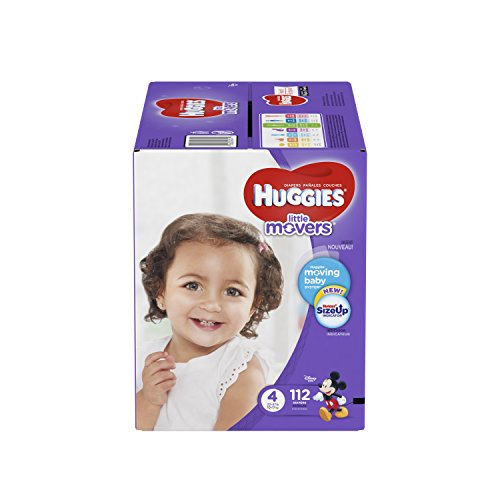 Price comparison product image HUGGIES LITTLE MOVERS Diapers,  Size 4 (22-37 lb.),  112 Ct. (Packaging May Vary),  Baby Diapers for Active Babies