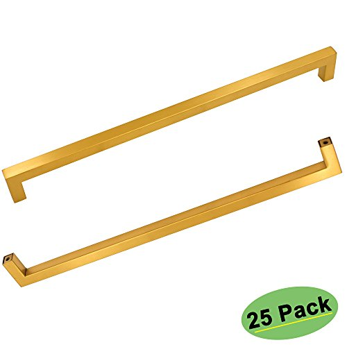 Square Bathroom Cabinet Door Handles Heavy Duty - Homdiy HDJ12GD 12-3/5'' Center to Center Modern Gold Office Desk Closet Drawer Pulls Stainless Steel Wine Storage Office Cabinet Hardware 25 Pack by Homdiy
