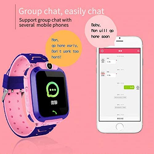 XINGPENGME Q12B kinderen Slimme Horloge Telefono Impermeabile LBS Smartwatch Bambini Positionering Chiamata 2G Sim-kaart Remote Ragazze Locator Horloge Jongens (Kleur : Pink)