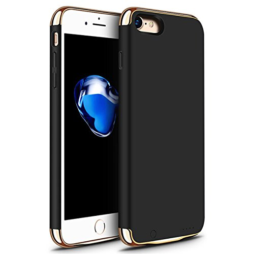 iPhone 6 6s 7 Battery Case, GIZEE Ultra Slim 3 In 1 Metal Textured 3500 mAh Portable Protective Charging Case for Apple iPhone 6 / iPhone 6S/ iPhone 7 4.7 Inch - Black