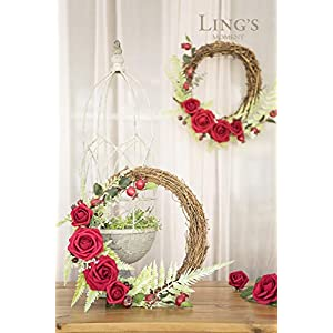 Ling's moment DIY Blush Pink Flower Floral Hoop Wreath for Wedding Party Backdrop Decorations 2