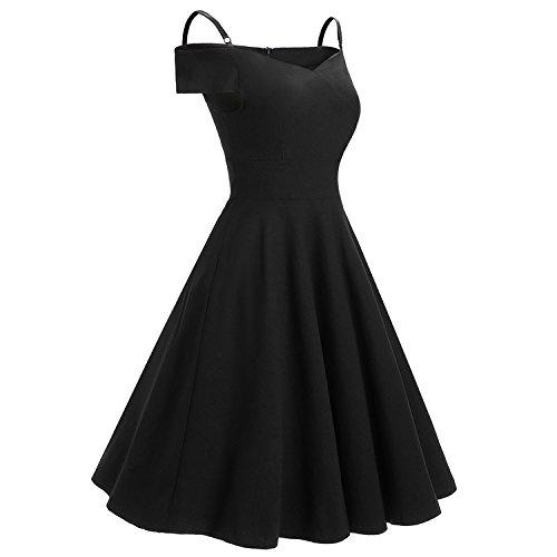 iShine Mujer Elegante Vestidos Cortos 1950 Vintage Retro Manga Corta Rockabilly Clásico de Fiesta Negro