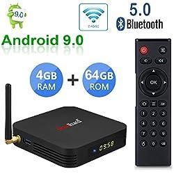 Smart TV Box Greatlizard TX6 Android 9.0 4GB RAM 64GB ROM Quad Core 4K HD Resolution Dual WiFi 2.4G/5G Bluetooth 5.0