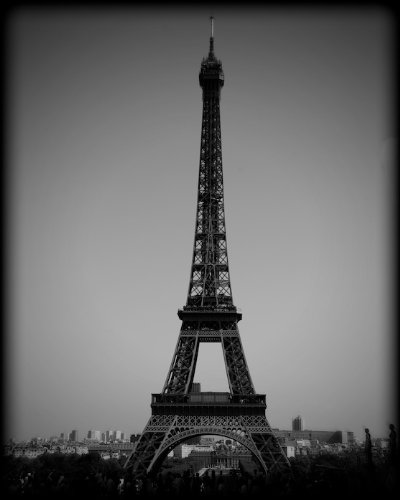 Eiffel tower paris france black and white print prbw7353 8x10