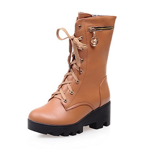 AmoonyFashion Womens Solid Kitten-Heels Round Closed Toe PU Lace-up Boots Brown 5lKg5p