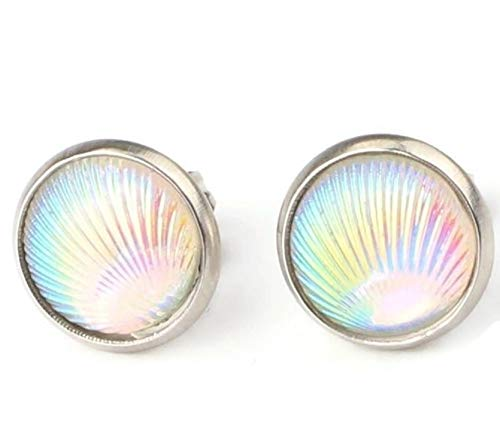 - Iridescent Seashell Beach Shell Sea Life Stud Earrings 10mm (AB White)