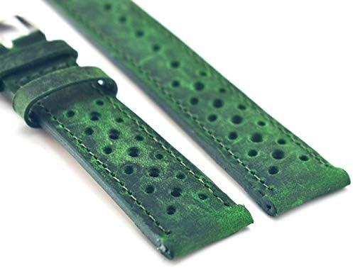 RTYW 手作り時計バンドヴィンテージ中空デザイン本革ストラップウォッチグリーン交換バンド18ミリメートル20ミリメートル22ミリメートル24ミリメートル (Band Color : Green, Band Width : 18mm)