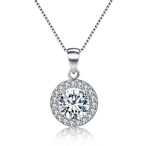 [Halo Necklace Round Cubic Zirconia CZ Charm Pave Pendant for Women] (Best Mother And Son Costumes)