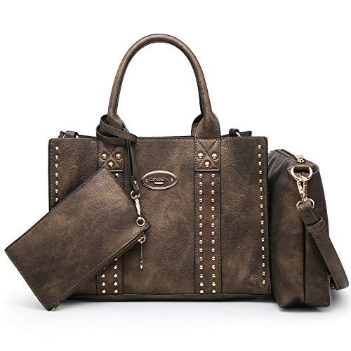 Women Vegan Leather Handbags Fashion Satchel Bags Shoulder Purses Top Handle Work Bags 3pcs Set Bronze