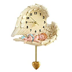 MineDecor Wall Decor 9 Non Ticking Wall Clock Angel Resin Vintage Slient Clocks Home Decoration (Boy, Small)