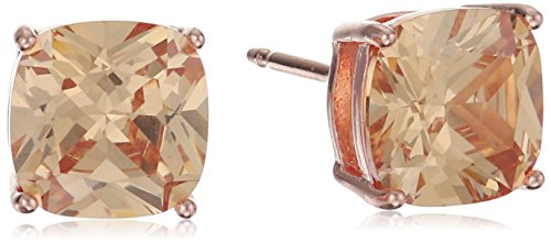 14k Rose Gold Plated Sterling Silver Cushion Cut Champagne Cubic Zirconia Stud Earrings