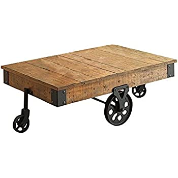 Distressed Wagon Coffee Table Rustic Brown