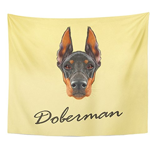Doberman Pinscher Tapestry (Emvency Tapestries Print 50x60 Inches Brown Face Doberman Pinscher Dog Illustrated Portrait of Black on Yellow Red Wall Hangings Home Decor)