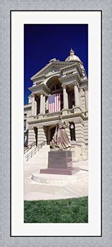 Wyoming State Capitol, Cheyenne, Wyoming, USA (vertical) by Panoramic Images Framed Art Print Wall Picture, Flat Silver Frame, 20 x 44 inches