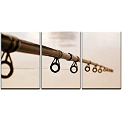 "wall26 - 3 Piece Canvas Wall Art - Fishing Rod Against The Water Surface - Modern Home Decor Stretched and Framed Ready to Hang - 16""x24""x3 Panels"