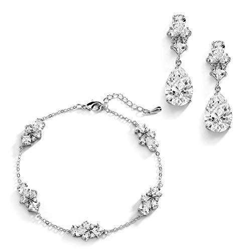 "Mariell CZ Bridal Bracelet & Matching Earrings, Wedding Jewelry Set with Adjustable Bracelet 7 ¼"" to 8 ¾"""
