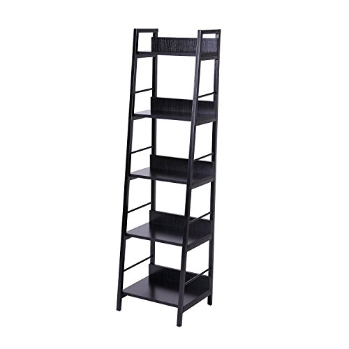 HomCom 5-Shelf Modern Ladder Bookcase - Black
