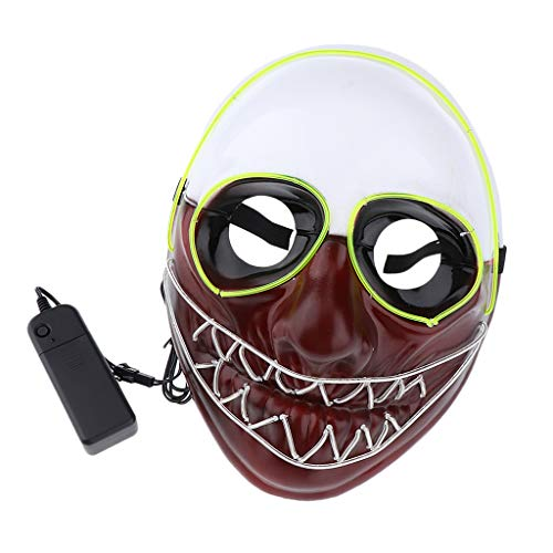 SM SunniMix Horror EL Wire LED Light Up Mask Halloween Masquerade Rave Party Woman Man Costume -