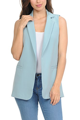 (Auliné Collection Womens Work Casual Open Front Notched Lapel Collar Blazer Vest - Dark Sage)