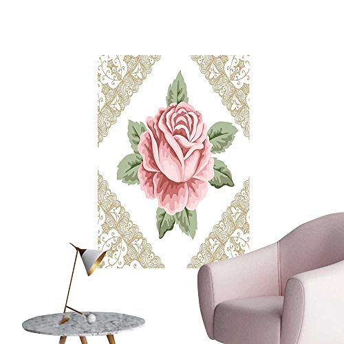 Vinyl Wall Stickers Ornate Vintage Rose Petal Floret Shabby Chic Pattern Light Pink Reseda Green Sand Perfectly Decorated,28