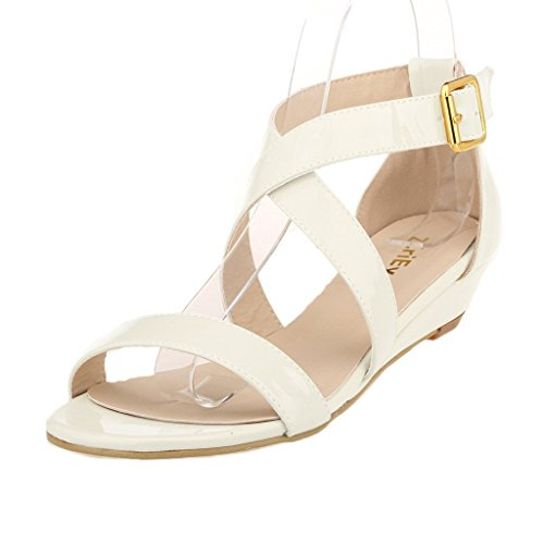 ZriEy Women's Classic Ultra Comfort Sexy Low Heel Sandals Patent Leather Beige size10 (Patent Sexy Sandals)
