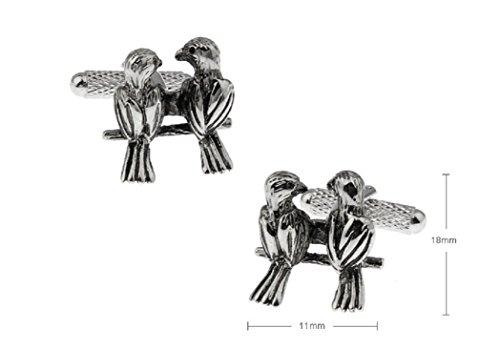 MRCUFF Love Birds Lovebirds Pair Cufflinks in a Presentation Gift Box & Polishing Cloth by MRCUFF (Image #1)