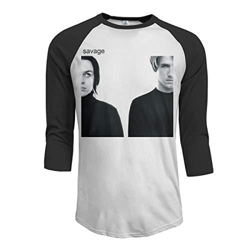 JeremiahR Savage Garden Men's 3/4 Sleeve Raglan Baseball Tshirt Black S (Savage Garden Shirt)