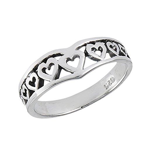 Sterling Silver Women's Filigree Thumb Chevron Heart Promise Ring (Sizes 3 - 8) (Ring Size 8)