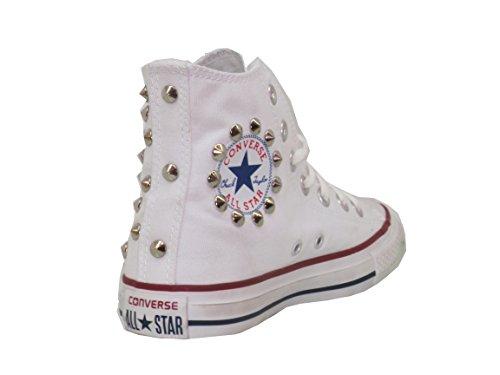 borchiate Hi star prodotto Borchie artigianale Converse bianco all white optical IPqwTaxTt