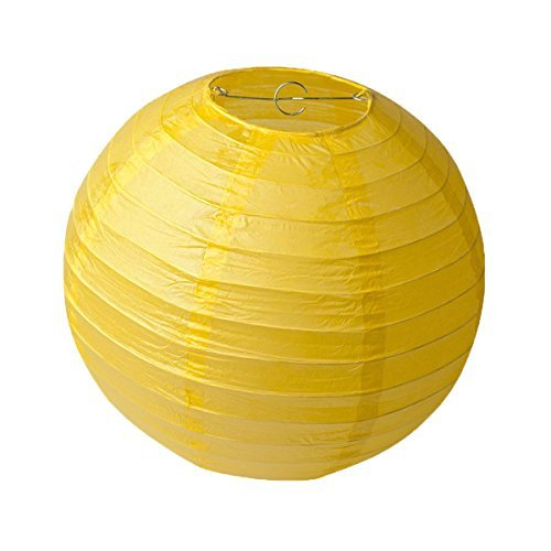 HEARTFEEL 8 inch Chinese Paper Lanterns Color Pack of 6 for Wedding Party Decoration Baby Shower Home Decoration (8 inch, Sunflower Yellow) ()